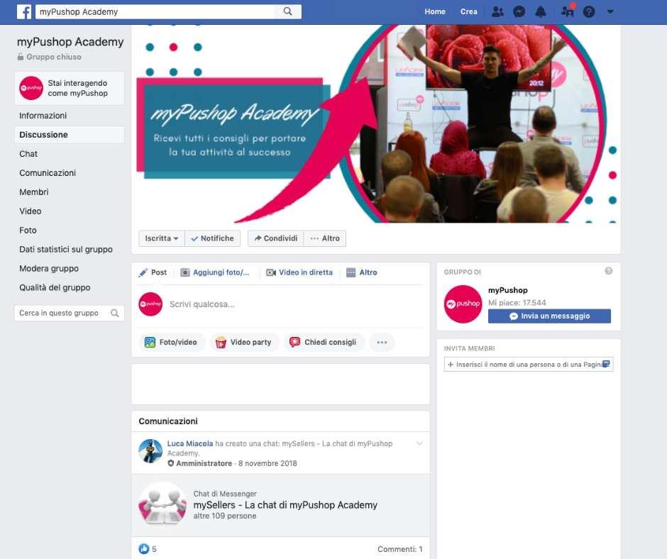 Gruppo di Facebook myPushop Acadely